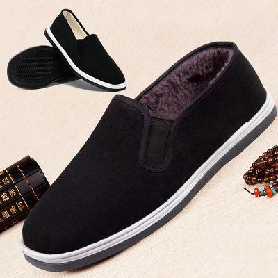 男鞋冬季棉鞋男士高帮老北京布鞋子二棉加绒中老年短靴软底爸爸鞋