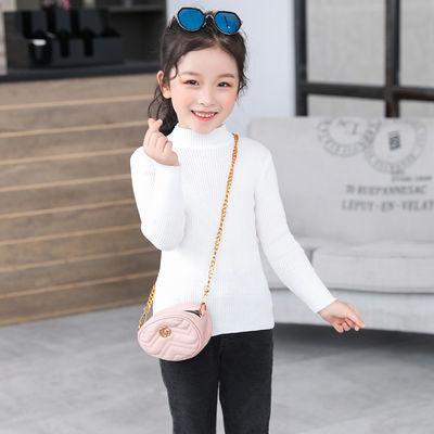 儿童打底针织衫毛衣春秋款时尚洋气纯色中领长袖女童秋装外套上衣
