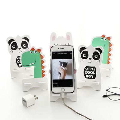可爱桌面手机支架床头看电视直播神器懒人支架iPad通用木质手机架