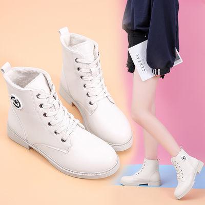 春秋季女靴子新款英伦风马丁靴女学生韩版网红平底短筒短靴女棉靴