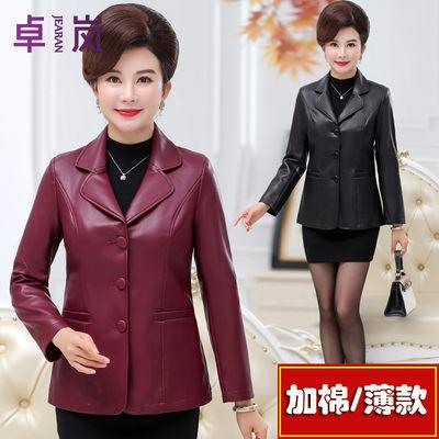 中老年女秋冬装加绒加棉pu皮衣外套老年人皮毛一体大码夹克皮棉衣