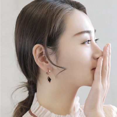 钛钢耳环女长款气质简约适合圆脸的耳坠韩国时尚个性百搭装饰网红