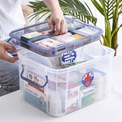 手提高透双层家用医药箱儿童急救箱�a箱家庭用纯原料多层厚小药箱