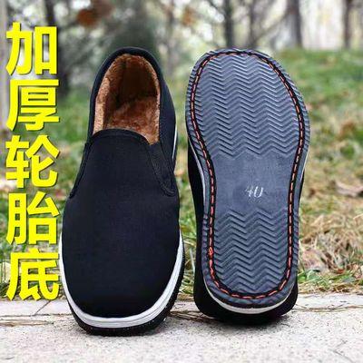 老北京布鞋棉男冬季休闲鞋二棉加绒保暖中老年棉靴休闲套脚父亲鞋
