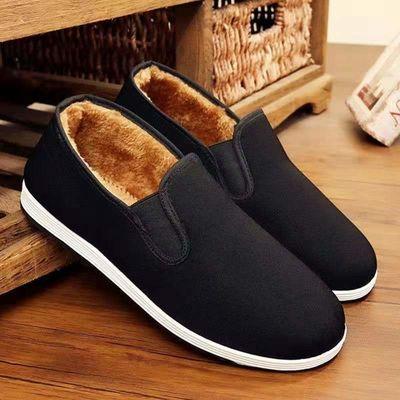 老北京布鞋二棉鞋男冬季保暖大码老人鞋加绒软底防滑中老年爸爸鞋