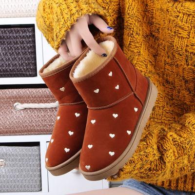 雪地靴女短筒冬季韩版保暖加绒百搭加厚棉鞋大童中小学生短靴子女