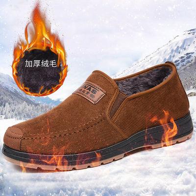 秋冬季老北京布鞋男鞋保暖爸爸鞋男士二棉鞋休闲套脚中老年加绒鞋