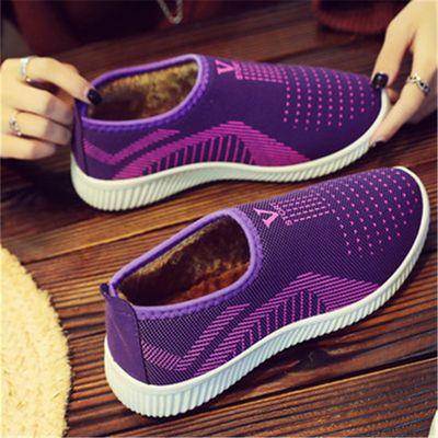 冬季女士防水棉鞋老北京布鞋加绒加厚保暖鞋平底防滑中老年人棉靴