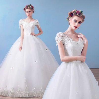 新款爆款婚纱礼服2018新款新娘结婚韩版拖尾显瘦一字肩齐地春夏季