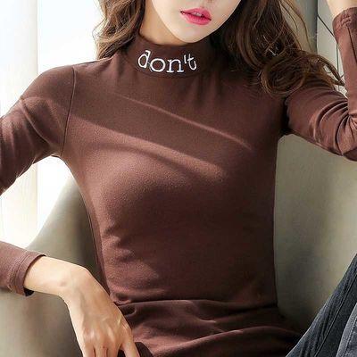 白色打底长袖t恤女2019秋冬新款内搭小衫韩版修身半高领刺绣上衣