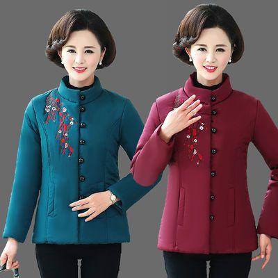 中老年女装冬棉衣短款棉服2019新款小棉袄加绒加厚妈妈装秋冬外套
