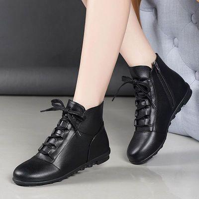 优质软皮加绒保暖新款妈妈女棉鞋冬季短女靴防滑软底中老年平底鞋