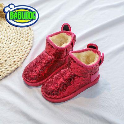 特价福建泉州正品BABUDOG冬新款儿童雪地靴女童靴子公主亮片短靴