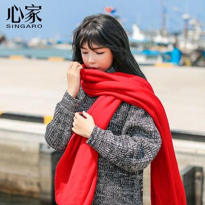 手工针织毛线围巾围脖冬季加厚百搭女士妈妈纯色红黄白黑9块9包邮