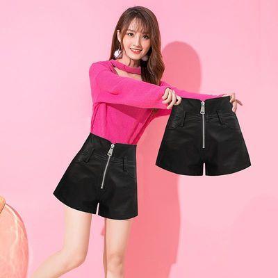 小皮裤拉链女秋冬季2020新款高腰显瘦短裤小个子显高a字阔腿靴裤