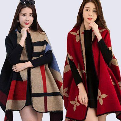 围巾两用女冬季韩版仿羊绒披肩斗篷新款百搭加厚宽松保暖披风外套