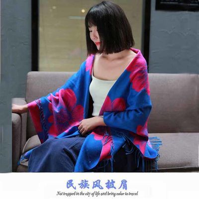 正方形围巾女秋冬羊绒披肩加厚双面羊毛披风斗篷外套超大方巾两用