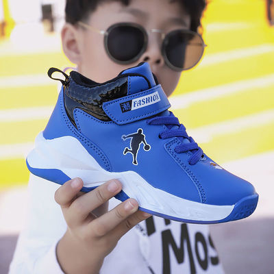 二棉童鞋男童鞋子高帮篮球鞋秋冬皮面防水中大童运动鞋软底儿童鞋