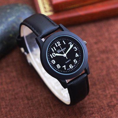 男生简约休闲皮带手腕表初中小学生男孩韩版石英防水电子儿童手表
