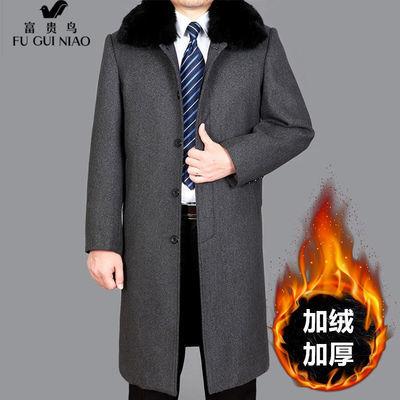 富贵鸟男士外套中老年男装秋冬季老年人衣服棉衣男加绒加棉呢子衣