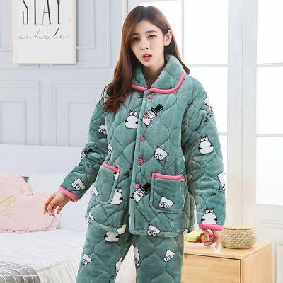 睡衣女士冬季三层加厚夹棉保暖珊瑚绒法兰绒秋冬可爱大码家居服