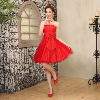 小香风名媛红色新娘两件套连衣裙结婚敬酒服订婚小礼服针织连衣裙