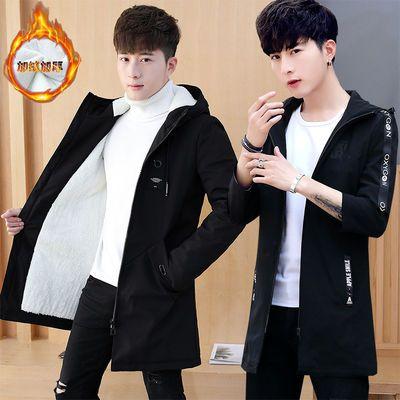 外套男秋冬季中长款夹克加绒学生韩版潮流风衣青少年棉衣男装加厚