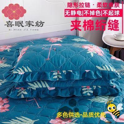 花边枕头套一对大号夹棉成人枕套家用可机洗拉链式信封式枕皮4874