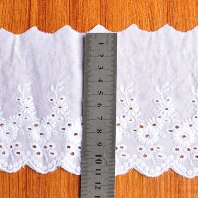11cm宽漂白色棉布刺绣装饰花边手工服装裙子辅料纯棉蕾丝花边