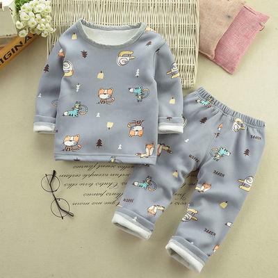 上衣+裤子男女儿童装宝宝冬装加绒保暖内衣套装男童0-6岁家居服