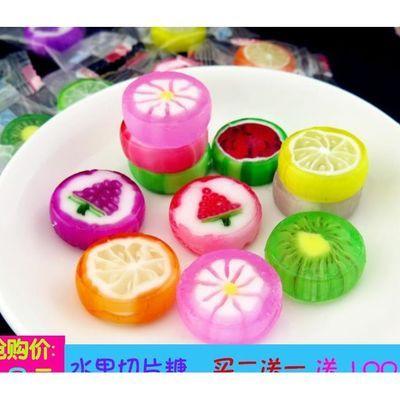 网红创意手工切片糖罐装混合水果味硬糖小零食散装儿童喜糖果礼物