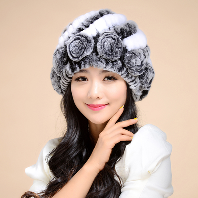冬季新款皮草帽子女士兔毛帽中老年加厚保暖护耳帽獭兔毛编织帽子
