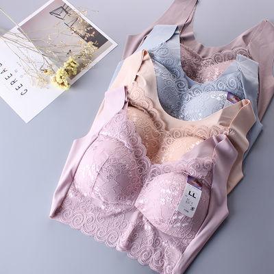 性感蕾丝无痕背心式内衣胖mm薄款无钢圈大码文胸聚拢侧收睡眠胸罩