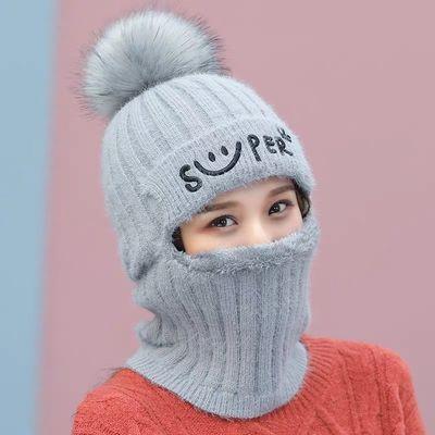 帽子女秋冬骑车毛线帽保暖加厚加绒防风寒百搭护耳围脖一体套头帽