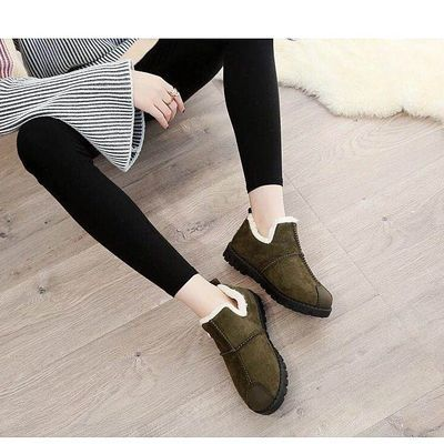 二棉鞋女 加绒妈妈鞋一脚蹬冬季棉鞋中年妇女鞋40-50岁保暖平底鞋