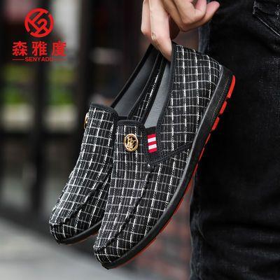 春夏新款布鞋男鞋子一脚蹬老北京布鞋男潮流豆豆鞋男士休闲鞋子男