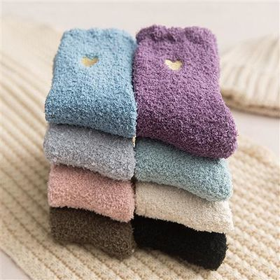 家居睡眠睡觉毛毛绒珊瑚绒袜子成人女冬季加厚保暖可爱地板袜长筒