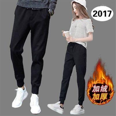 运动裤子冬秋季学生韩版宽松加绒加厚休闲长女哈伦九分子打底外穿