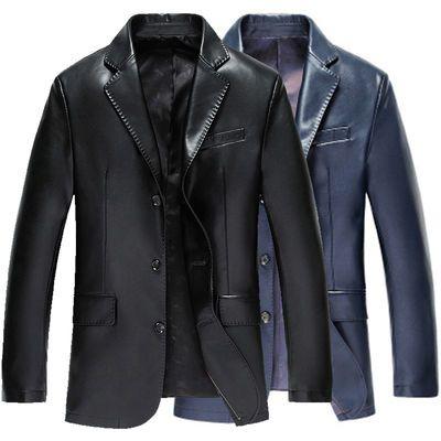 皮西装男士商务休闲青中年皮衣男装外套夹克大码加绒不加绒
