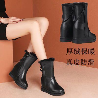 冬季新款内增高雪地靴女真皮厚底防滑女士棉鞋加绒保暖百搭靴子女