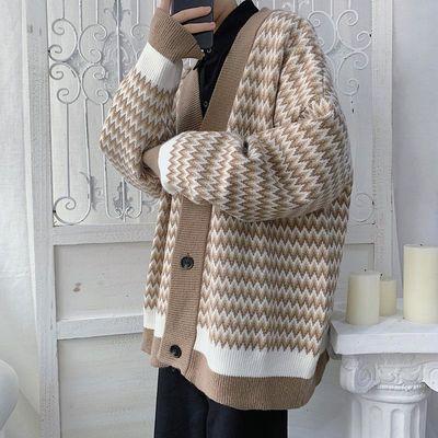 秋季针织衫男条纹V领开衫学院风休闲外衣百搭条纹毛衣男新款外套