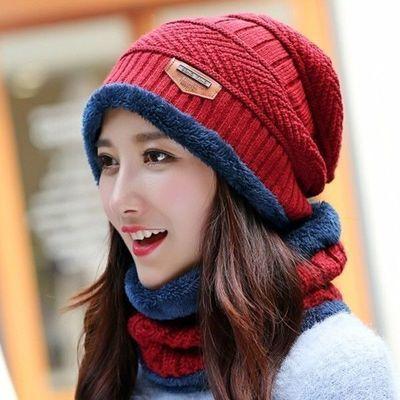 冬天帽男女潮秋冬季男士针织帽加绒加厚毛线帽套头帽脖套套装帽子