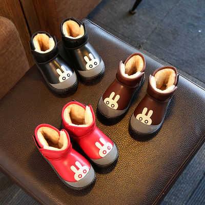 儿童雪地靴女童冬季加绒防水短靴男童靴子防滑中大筒棉靴宝宝童鞋