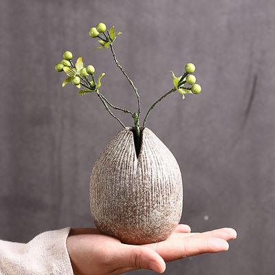 粗陶创意手工桌面摆件陶瓷小花器家居复古水培花瓶禅意日式干花插