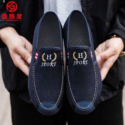 老北京布鞋男鞋豆豆鞋男鞋春季单鞋老北京布鞋防滑布鞋休闲男鞋子