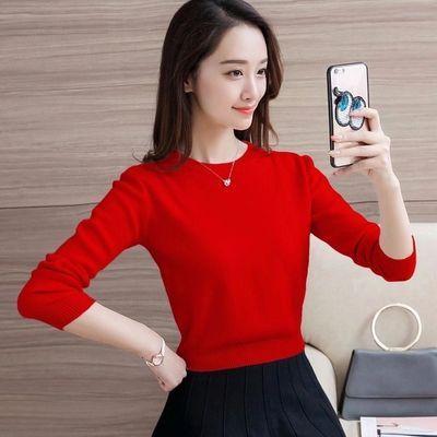 短款毛衣女学生韩版春秋宽松新款圆领长袖针织衫小个子修身打底衫