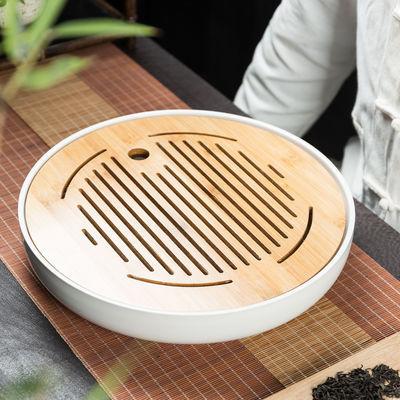 家用简约功夫茶具茶盘套装迷你储水密胺干泡小茶台日式竹制茶托盘