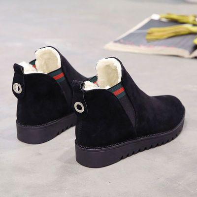 2019冬季加绒马丁靴初中学生棉鞋少女短靴12岁14雪地靴16休闲皮靴