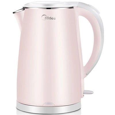 美的Midea电水壶WHJ1705b 304不锈钢1.7升电热水壶双层防烫烧水壶