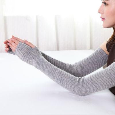 手臂袖套女秋冬长款露指半指手套夏季防寒针织保暖羊毛线假袖子